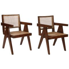 """Set of Two Armchairs Called """"Office Cane Chairs"""" from Pierre Jeanneret"""
