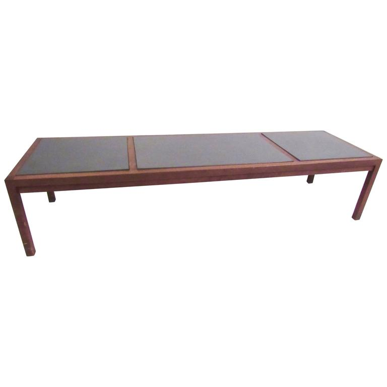 Mid-Century Modern Slate Top Coffee Table