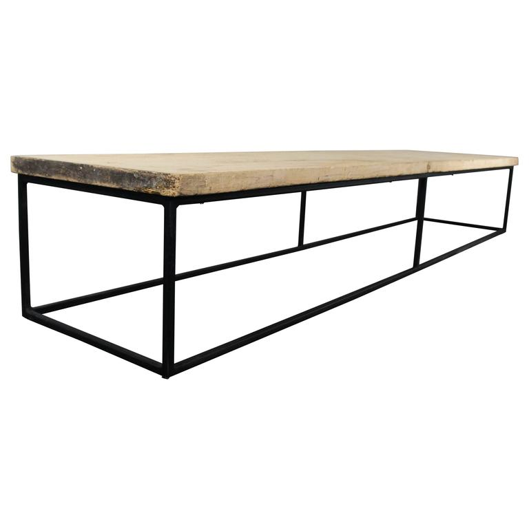19th Century Sycamore Top On Bespoke Metal Frame Coffee Table Loft  Warehouse For Sale