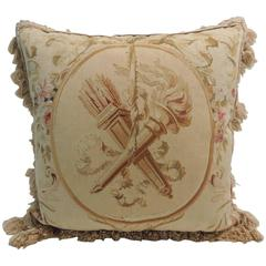 Large Aubusson Tapestry Pillow with Cotton Trim and Woven Tassels