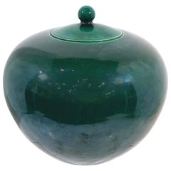 Chinese Green Glazed Porcelain Covered Jar, 19th Century