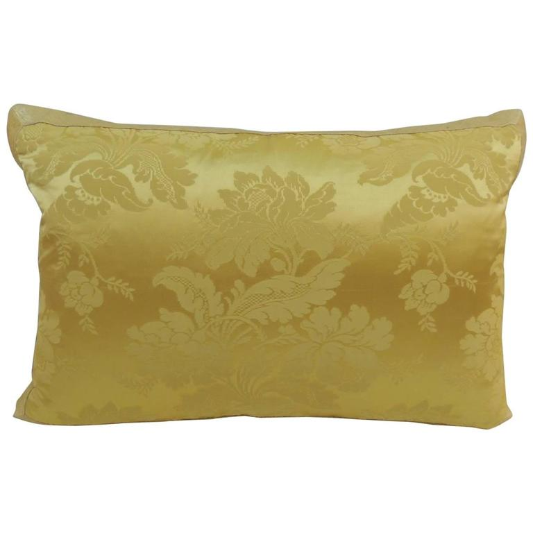 Vintage Decorative Pillow : Antique French Yellow Silk Brocade Textile Decorative Pillow For Sale at 1stdibs