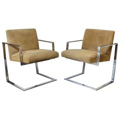 Pace Collection Cantilevered Chrome and Camel Suede Chairs