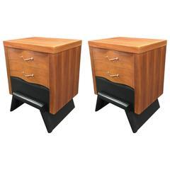 Pair of American Mid-Century Modern Triple Drawer Nightstands