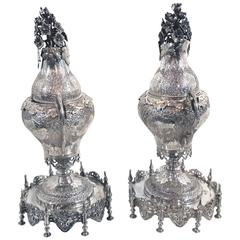 Pair of Ottoman Silver Spice & Rosewater Containers, Turkey, 19th Century