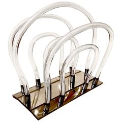 1960 Dorothy Thorpe Lucite and Chrome Magazine Rack