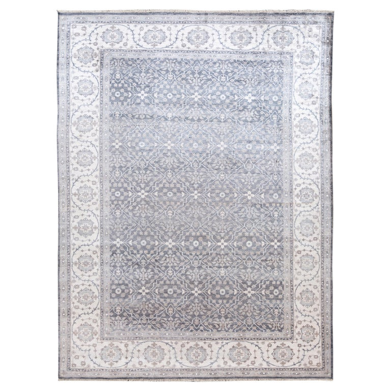 Ivory Wool And Silk Persian Naein Area Rug For Sale At 1stdibs: Transitional Blue And Ivory Silk Area Rug For Sale At 1stdibs