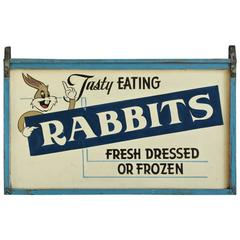 "Mid-20th Century ""Tasty Eating Rabbits"" Bugs Bunny Folk Art Trade Sign"