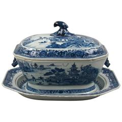 Chinese Export Canton Blue and White Soup Tureen and Underplate