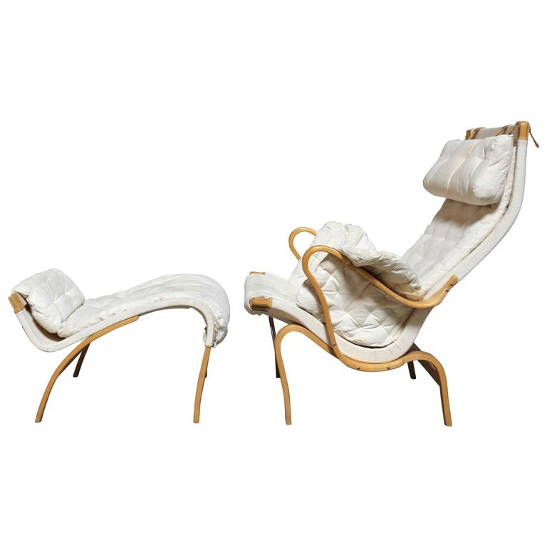 Pernilla Lounge Chair and Ottoman by Bruno Mathsson For Sale