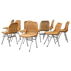 Set of Ten Dirk Van Sliedregt Rattan and Chrome Chairs