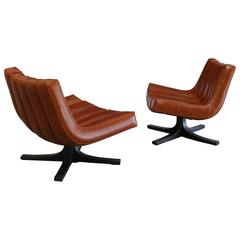 Rare Pair of Swivel Lounge Chairs by Javier Carvajal