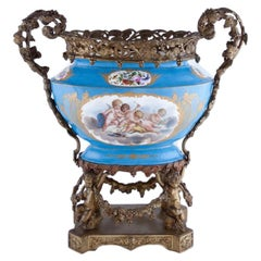 Bronze and Sèvres Style Porcelain Centerpiece, 19th Century