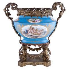 Bronze and Sèvres Style Porcelain Centerpiece, 19th Century