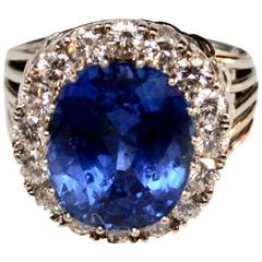 1950s nine Carat Untreated Sapphire and Diamond Ring