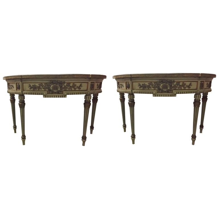 Pair of Italian Neoclassical Style Consoles, 19th Century