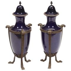 Pair of French Cobalt Blue Porcelain Urns, 19th Century