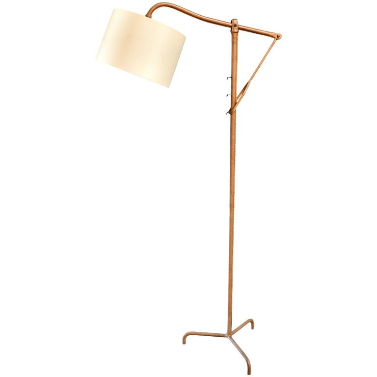 Jacques Adnet Adjustable Leather Floor Lamp