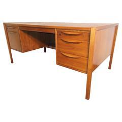 Jens Risom Walnut Executive Desk with Eyelash Pulls