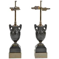 Pair of Bronze Classical Urns Mounted as Lamps