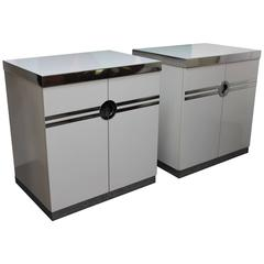 Pair of White Pierre Cardin Side Cabinets
