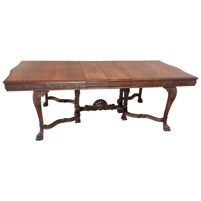 Early 20th Century Walnut Hairy Paw Dining Table