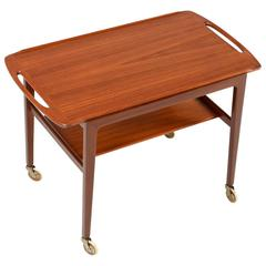 Danish Modern Teak Tray Top Tea Cart by Anton Kildebergs Møbelfabrik, 1964