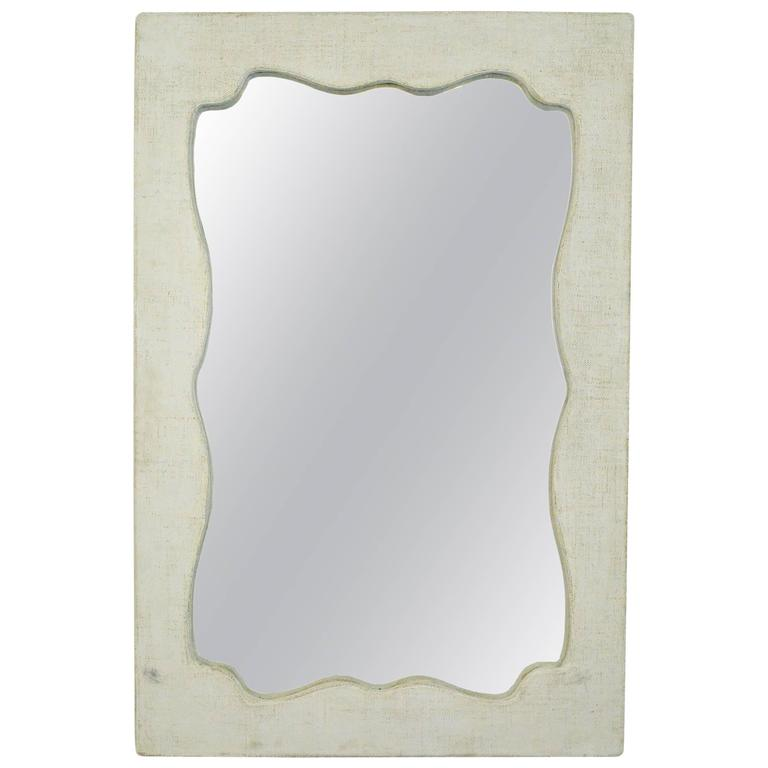 Mid-Century Style Canvas Painted Wall Mirror