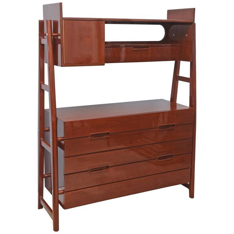 Superbe Italian Modern Mahogany Cabinet Or Bookcase, Silvio Cavatorta