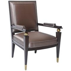 Jacques Quinet French Modern Dark Rosewood, Brass and Parcel-Gilt Armchair