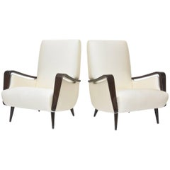 Midcentury Melchiorre Bega Italian Modern Dark Walnut Upholstered Club Chairs