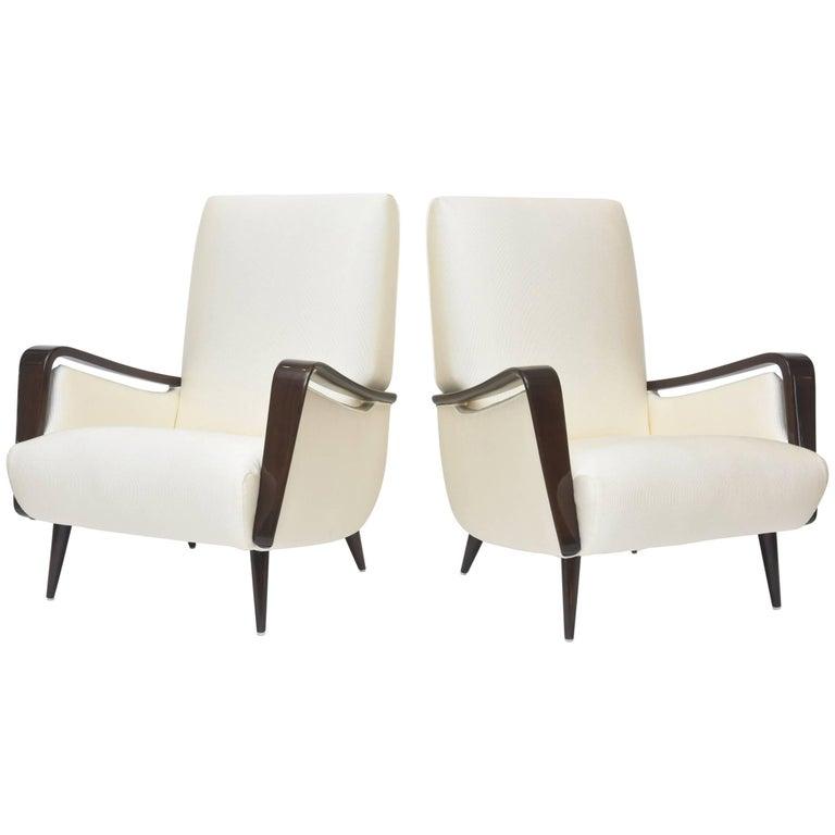 Midcentury Melchiorre Bega Italian Modern Dark Walnut Upholstered Club Chairs For Sale