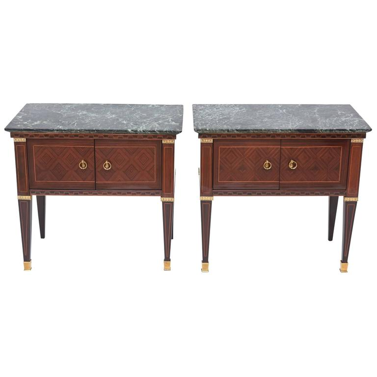 Pair of Italian Modern Rosewood and Walnut Inlaid Nightstands, Paolo Buffa 1