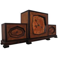 Beautiful Art Deco Pendulum / Mantel Clock Macassar Marquetry Inlay circa 1925