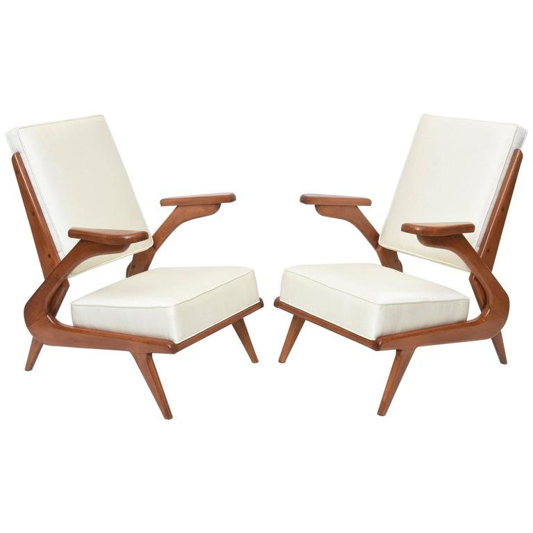 Pair of Italian Modern Walnut Armchairs, Attributed to Carlo de Carli
