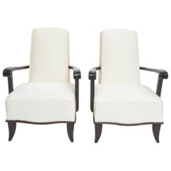 Jean Pascaud Pair of French Modern Rosewood and Upholstered Armchairs, 1940s