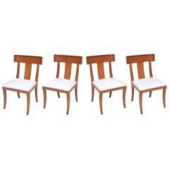 Set of Four Swedish Modern Fruitwood Klismos Chairs, 1950s