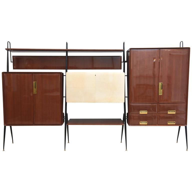 Italian Modern Mahogany and Brass Bar Cabinet or Bookcase, Silvio Cavatorta