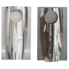 Pair of Italian Modern Polished Chrome and Stainless Steel Wall Lights, Reggiani