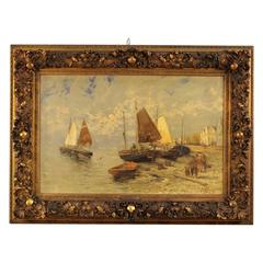 19th Century Dutch Seascape Painting with Golden Frame
