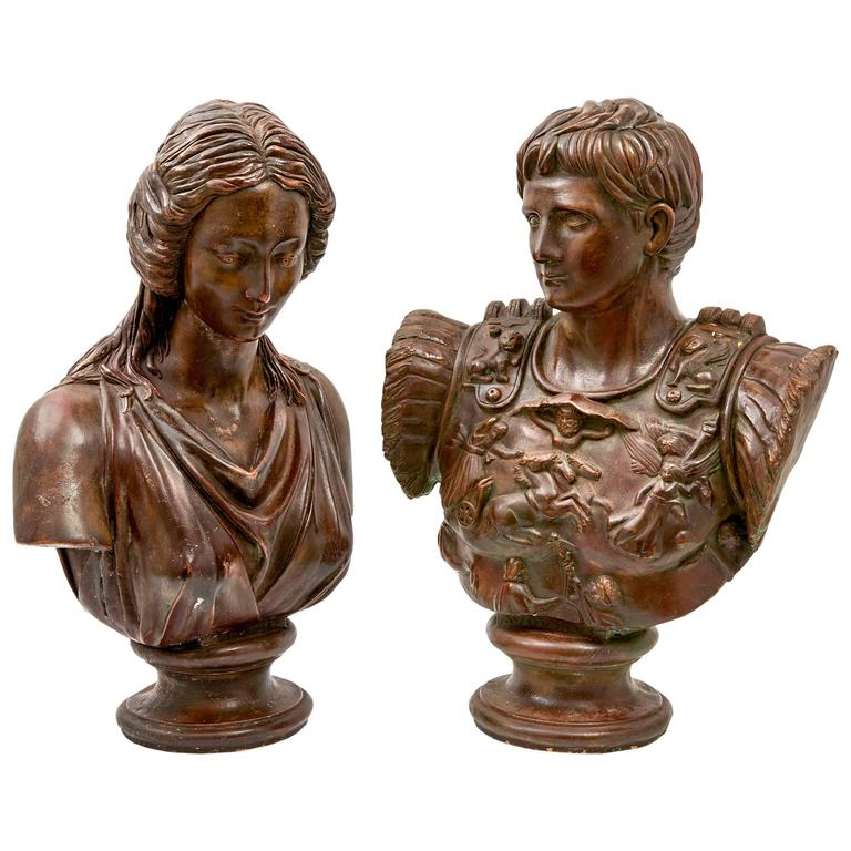 Pair of Continental Terracotta Busts of Augustus and Octavia, 19th Century