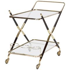 Italian Cesare Lacca Bar Cart Brass Mahogany, 1950s