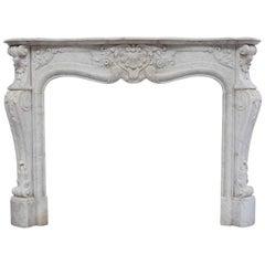 19th Century Rich Sculpted Louis XVI White Carrara Marble Fireplace Mantel
