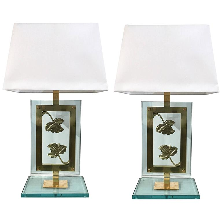 Pair Of Italian Artistic Table Lamps In Brass 1