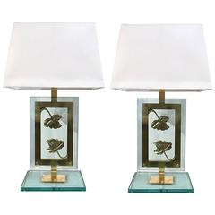 Pair of Italian Artistic Table Lamps in Brass