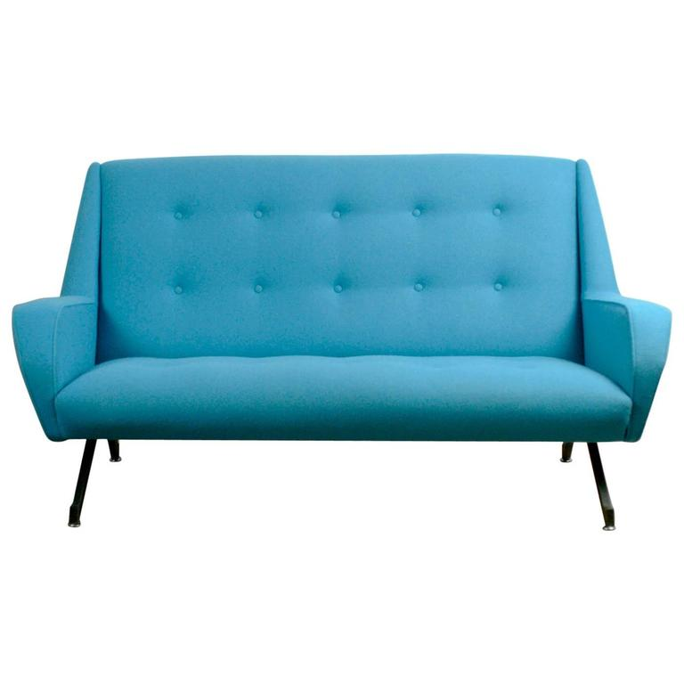 Blue Italian Midcentury Sofa in the Style of Ico Parisi