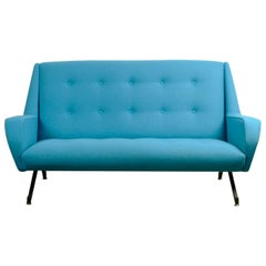 Blue and Black Metall Italian Midcentury Sofa in the Style of Ico Parisi