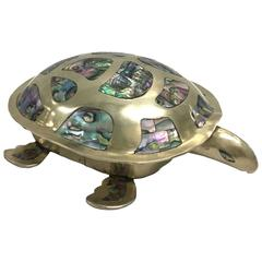 Mexican Silver and Abalone Turtle Box