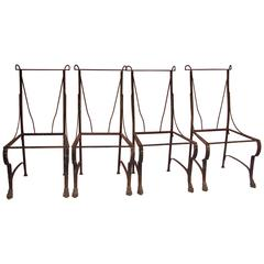 1920s French Wrought Iron Set of Four Chairs