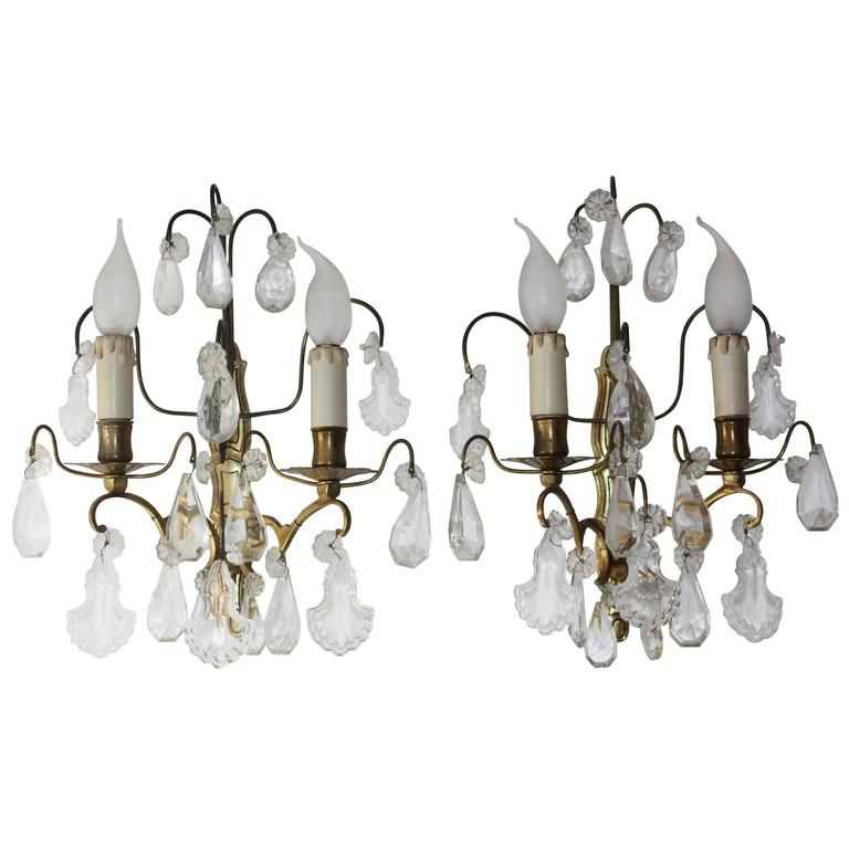 Pair of French Wall Sconces Brass and Cut Crystal, circa 1920s 1